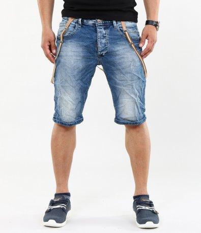 Мъжки къси дънки с тиранти 4613