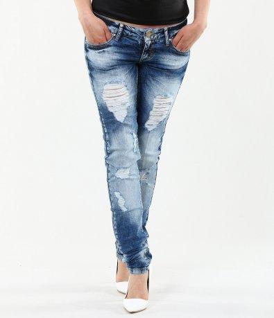 Дамски модерни дънки с кръпки 4646