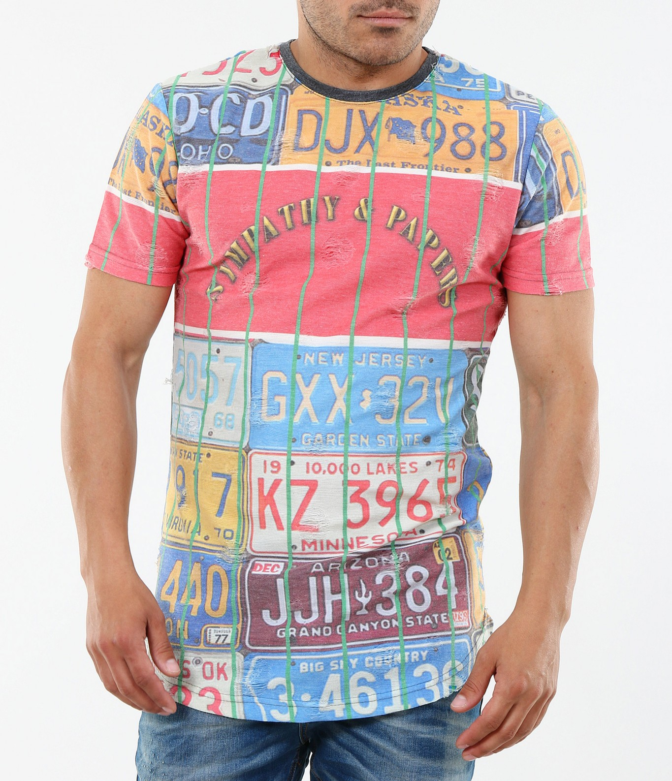 1a1bc9a4054 Цветна мъжка тениска с къс ръкав-4702 - Red Point Варна
