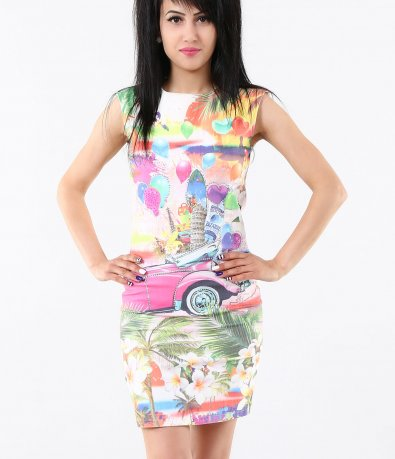 Дамска шарена вталена рокля 4777