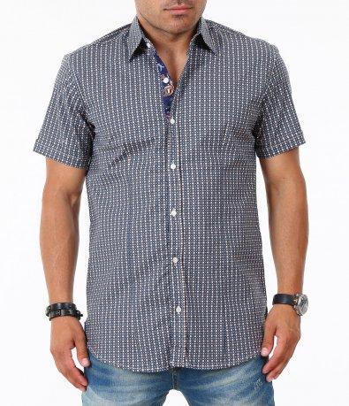 Мъжка синя риза с къс ръкав 4835