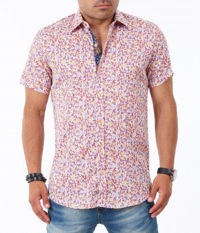 Мъжка лилава риза с къс ръкав 4833