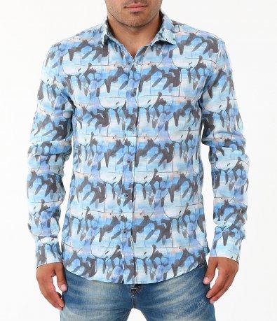 Мъжка синя риза с дълъг ръкав 4860