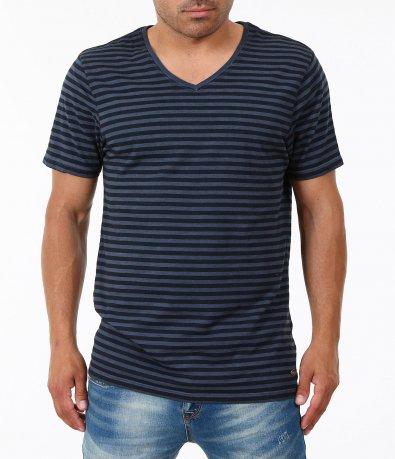 Мъжка тениска в тъмно синьо райе 4915