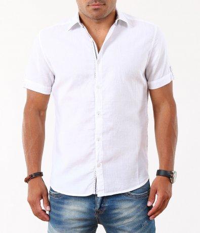 Мъжка бяла риза с къс ръкав 5008