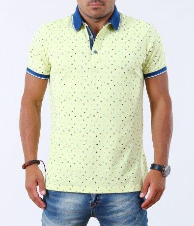 Мъжка жълта тениска със синя яка 5014