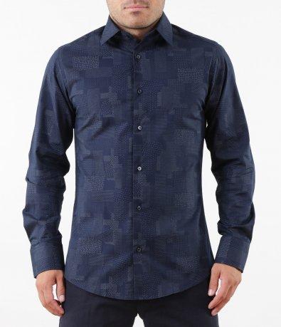 Тъмно синя риза с принт 5271