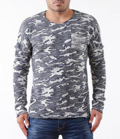 Ефектен мъжки пуловер с джоб 5316