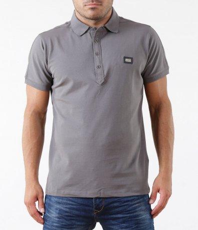 Тениска в сив цвят с яка 5318