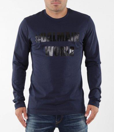 Тъмно синя блуза с надпис 5379