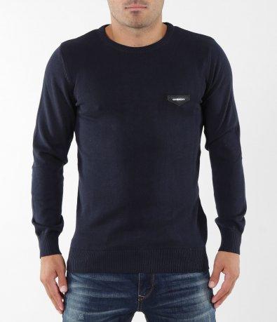 Блуза в тъмно син цвят с емблема 5383