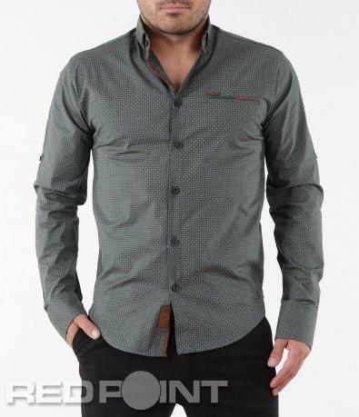 Зелена вталена риза 5571