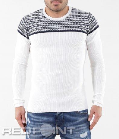 Декориран бял пуловер 5617