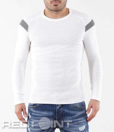 Бял втален пуловер 5628