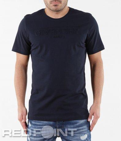 Изчистена тениска с релефен надпис 5678