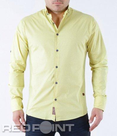 Риза с дълъг ръкав  в жълт цвят 5711