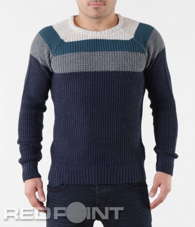Зимен пуловер в свеж десен 5725