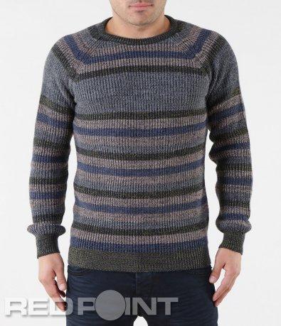 Зимен пуловер с раиран десен 5726
