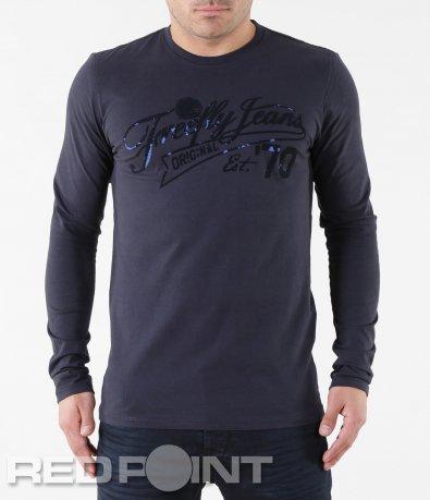 Тъмно синя блуза с надпис 5728