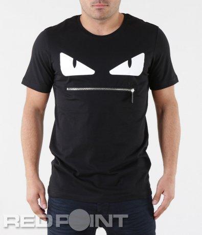 Черна мъжка тениска с цип 5732