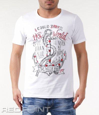 Бяла тениска с къс ръкав с апликация 5827