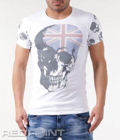 Тениска с щампа череп и декорация знаме 5780