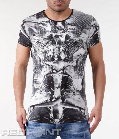 Черна тениска с ефектен дизайн 5786