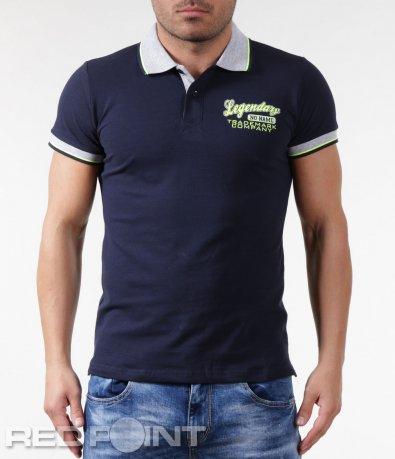 Тениска с яка и надписи 5845
