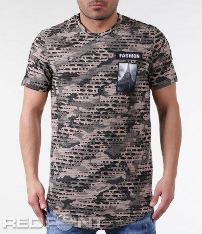Камуфлажна тениска със семпла апликация 5836