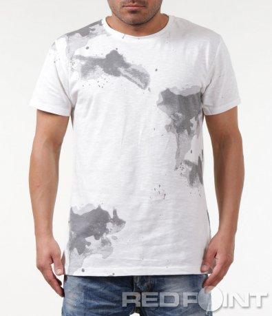 Клубна бяла тениска с принт 5875