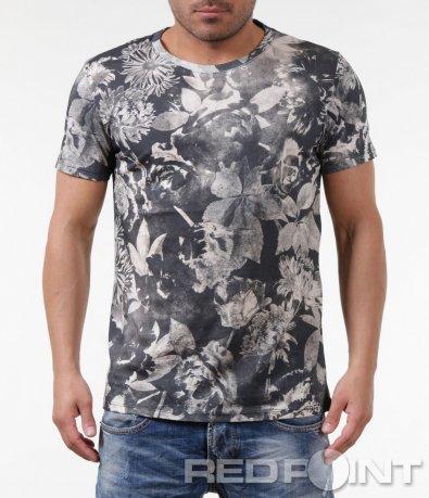 Бежова тениска с флорални мотиви 5859