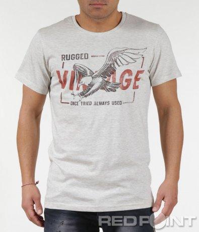 Стилна тениска с апликация орел и надпис 6000