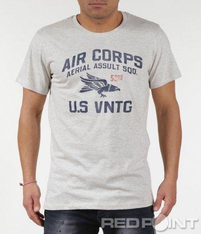 Семпла тениска с къс ръкав и надписи 6002