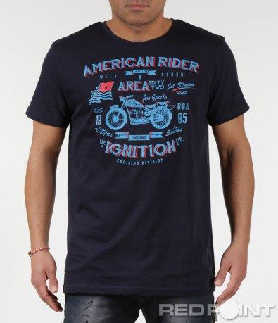 Фешън тениска с надписи American rider 6005
