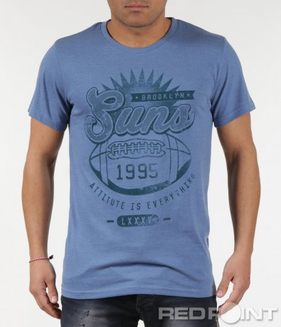 Модерна мъжка тениска с надписи 6008