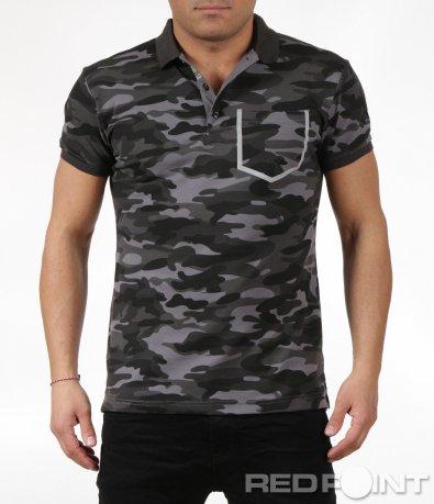 Тениска с яка в камуфлажен десен 6031