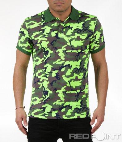 Поло тениска в камуфлажен принт 6048