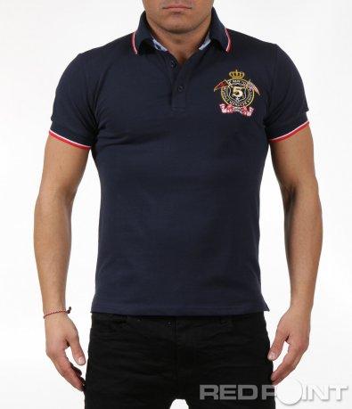 Стилна тениска с яка и нашивка 6050