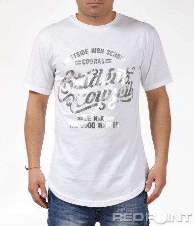 Бяла тениска с надпис 6071