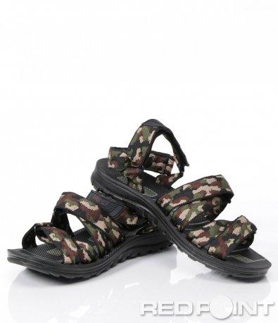 Ефектни сандали в камуфлажен десен 6072