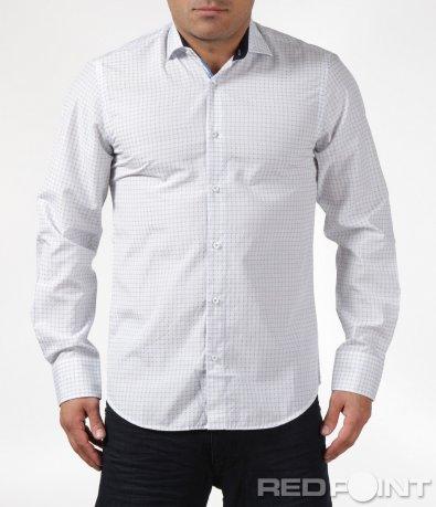 Бяла вталена риза 6086