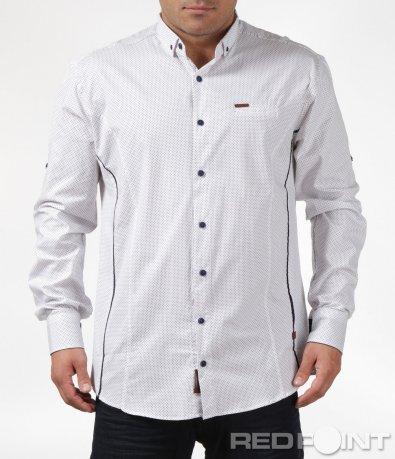 Бяла риза с тъмни кантове 6091