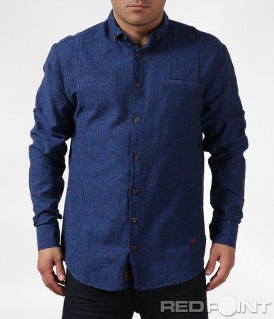 Памучна синя риза 6092