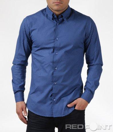 Синя риза с декорация 6095
