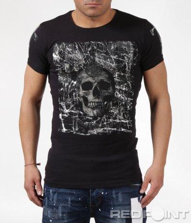 Клубна черна тениска с щампа 6108