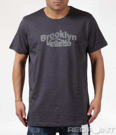 Сива тениска голям размер с надпис Brooklyn 6114