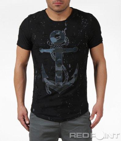 Вталена черна тениска с мотив 6117