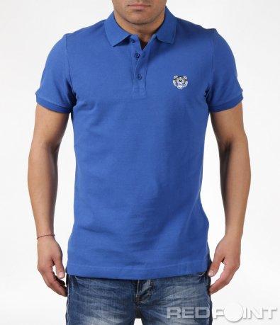 Изчистена  синя тениска с яка  и лого