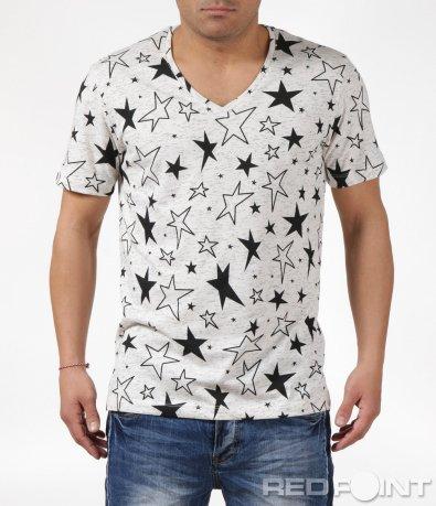 Бежова тениска със звезди 6127