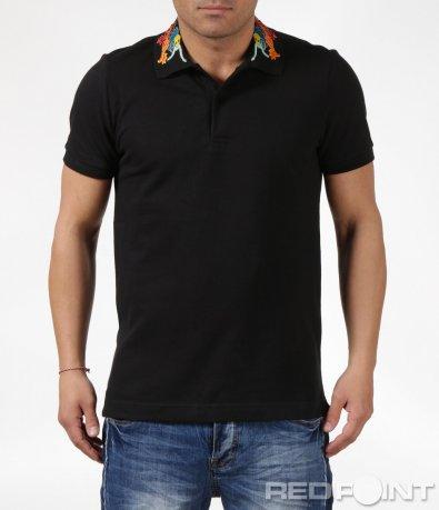 Черна тениска с бродирана яка 6132